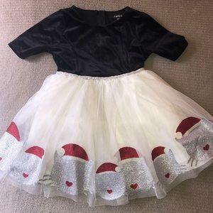 Holiday Sparkle Cat Crushed Velvet & Tutu Dress